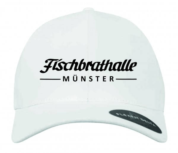 Fischbrathalle Classic Curved Snapback Cap weiß